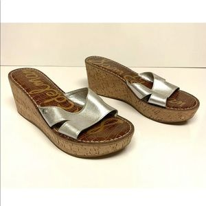 Sam Edelman Reid Cork Wedge Heels Slides Leather